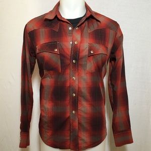 Vintage Red Plaid Wrangler Button Up